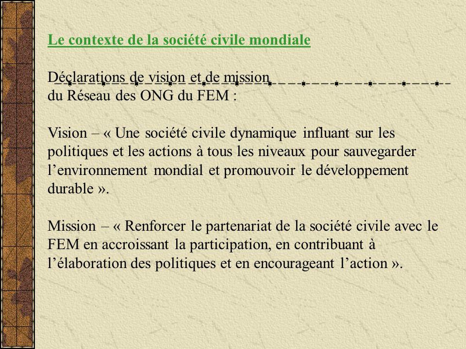 Le contexte de la société civile mondiale Déclarations de vision et de mission du Réseau des ONG du FEM : Vision – « Une société civile dynamique infl