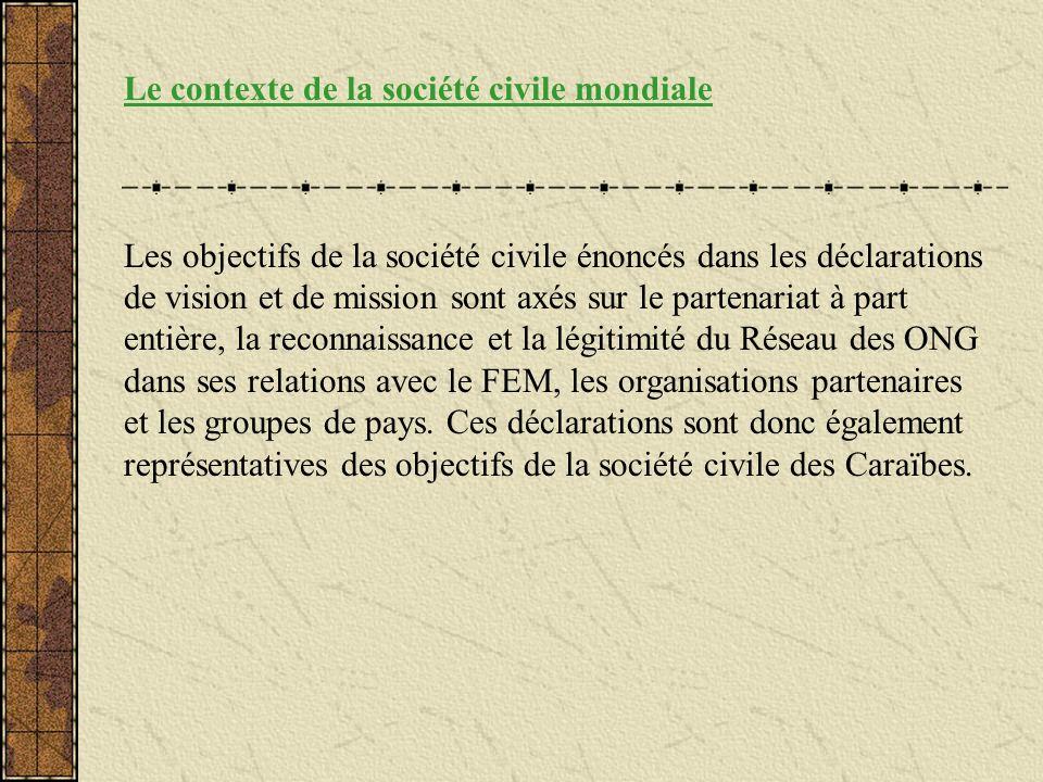 Le contexte de la société civile mondiale Les objectifs de la société civile énoncés dans les déclarations de vision et de mission sont axés sur le pa