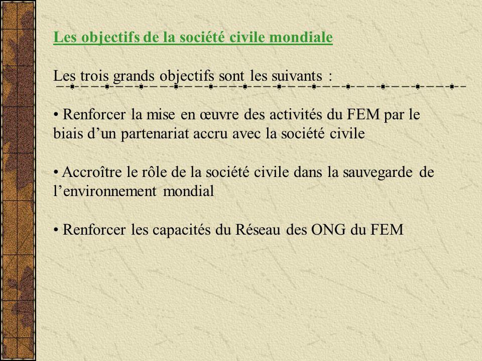Les objectifs de la société civile mondiale Les trois grands objectifs sont les suivants : Renforcer la mise en œuvre des activités du FEM par le biai