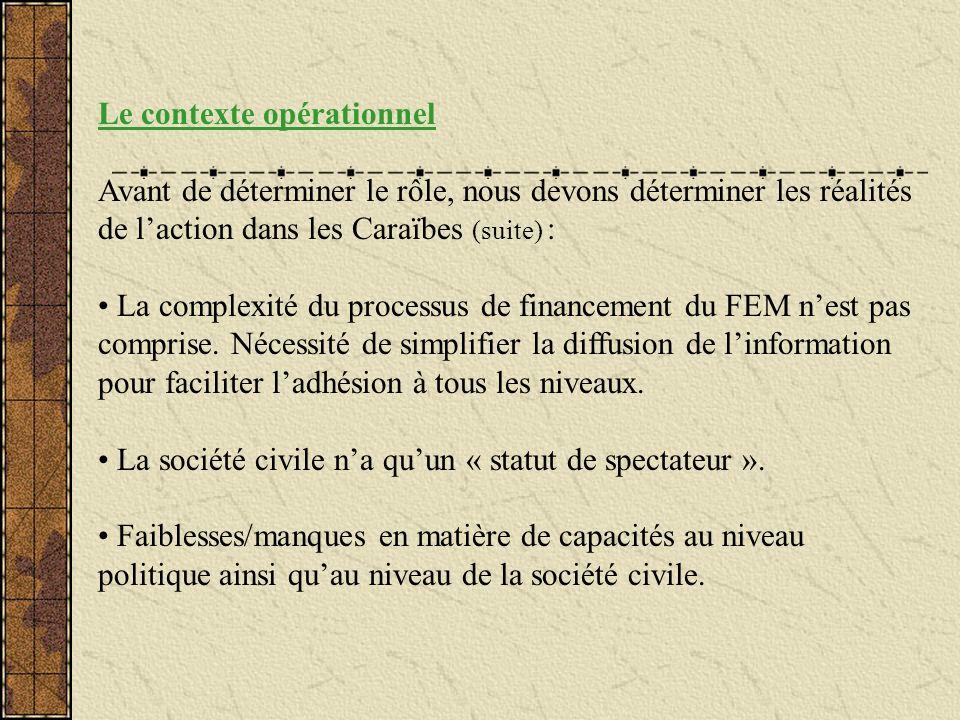 Le contexte opérationnel Avant de déterminer le rôle, nous devons déterminer les réalités de laction dans les Caraïbes (suite) : La complexité du proc