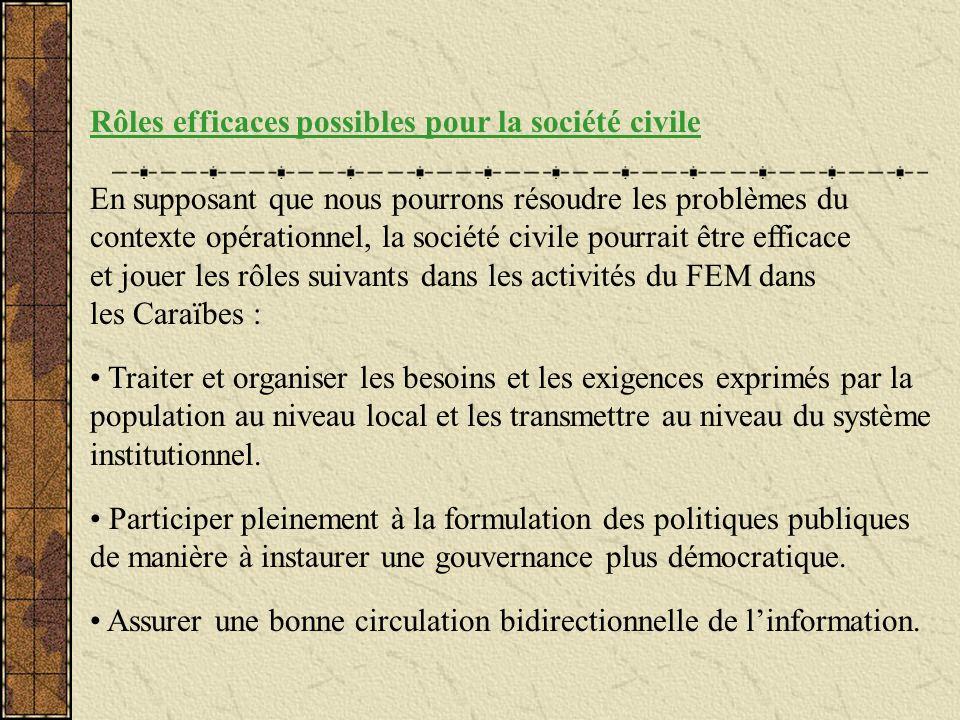Rôles efficaces possibles pour la société civile En supposant que nous pourrons résoudre les problèmes du contexte opérationnel, la société civile pou