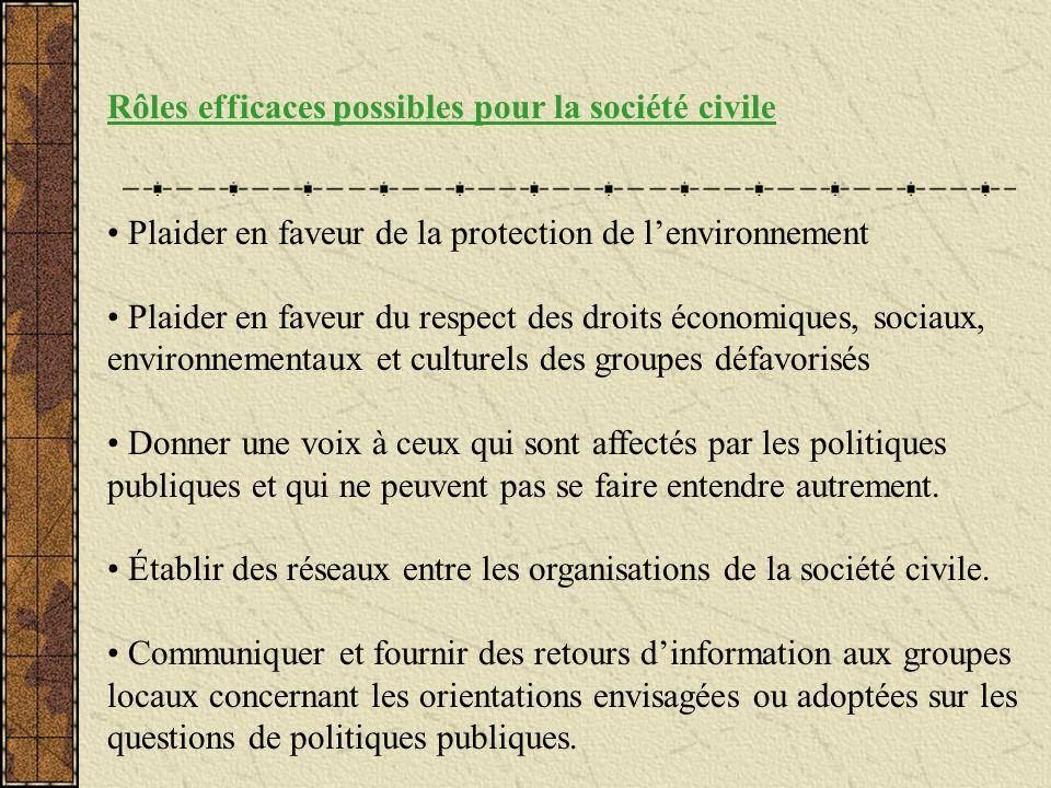 Rôles efficaces possibles pour la société civile Plaider en faveur de la protection de lenvironnement Plaider en faveur du respect des droits économiq