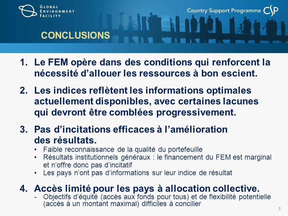 33 CONCLUSIONS 1.Le FEM opère dans des conditions qui renforcent la nécessité dallouer les ressources à bon escient.