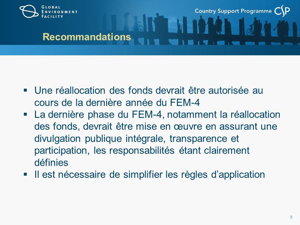 55 Recommandations Une réallocation des fonds devrait être autorisée au cours de la dernière année du FEM-4 La dernière phase du FEM-4, notamment la réallocation des fonds, devrait être mise en œuvre en assurant une divulgation publique intégrale, transparence et participation, les responsabilités étant clairement définies Il est nécessaire de simplifier les règles dapplication