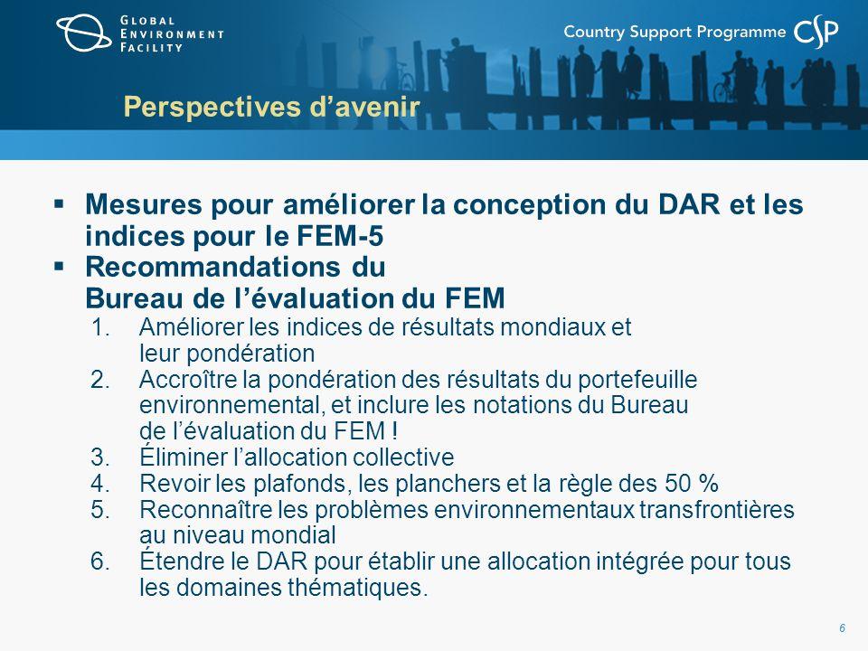 66 Perspectives davenir Mesures pour améliorer la conception du DAR et les indices pour le FEM-5 Recommandations du Bureau de lévaluation du FEM 1.Améliorer les indices de résultats mondiaux et leur pondération 2.Accroître la pondération des résultats du portefeuille environnemental, et inclure les notations du Bureau de lévaluation du FEM .