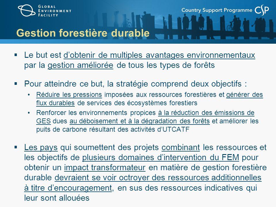 Gestion forestière durable Le but est dobtenir de multiples avantages environnementaux par la gestion améliorée de tous les types de forêts Pour attei
