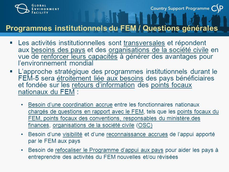 Programmes institutionnels du FEM / Questions générales Les activités institutionnelles sont transversales et répondent aux besoins des pays et des or