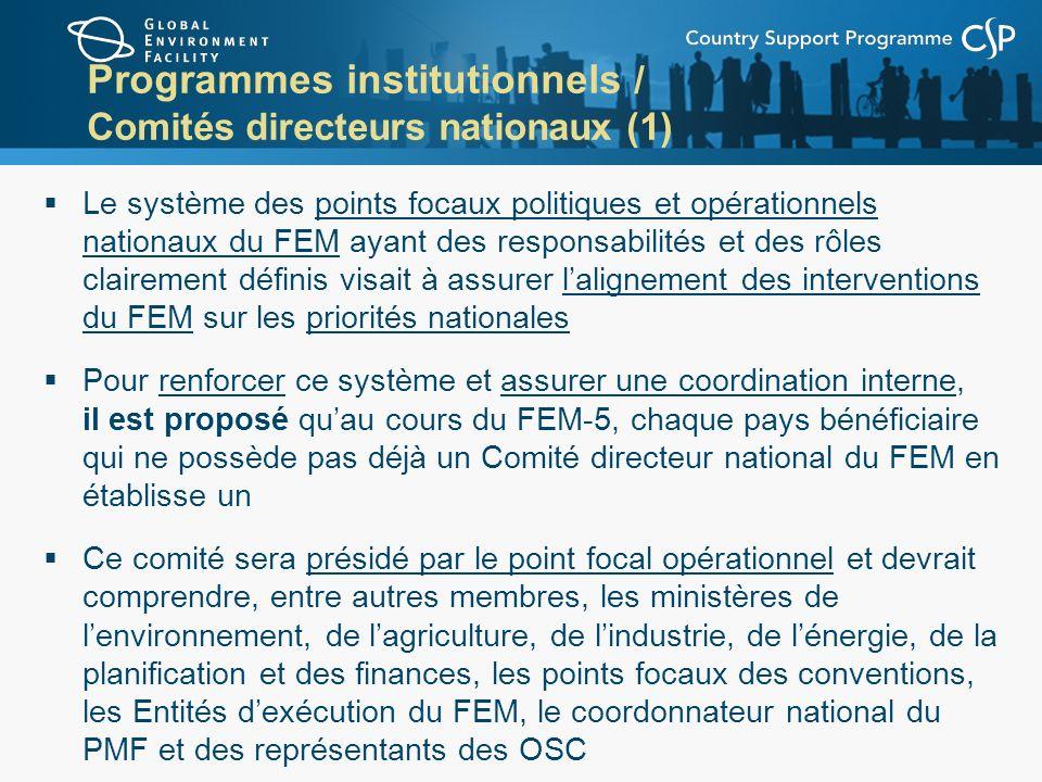 Programmes institutionnels / Comités directeurs nationaux (1) Le système des points focaux politiques et opérationnels nationaux du FEM ayant des resp