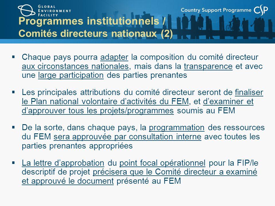 Programmes institutionnels / Comités directeurs nationaux (2) Chaque pays pourra adapter la composition du comité directeur aux circonstances national