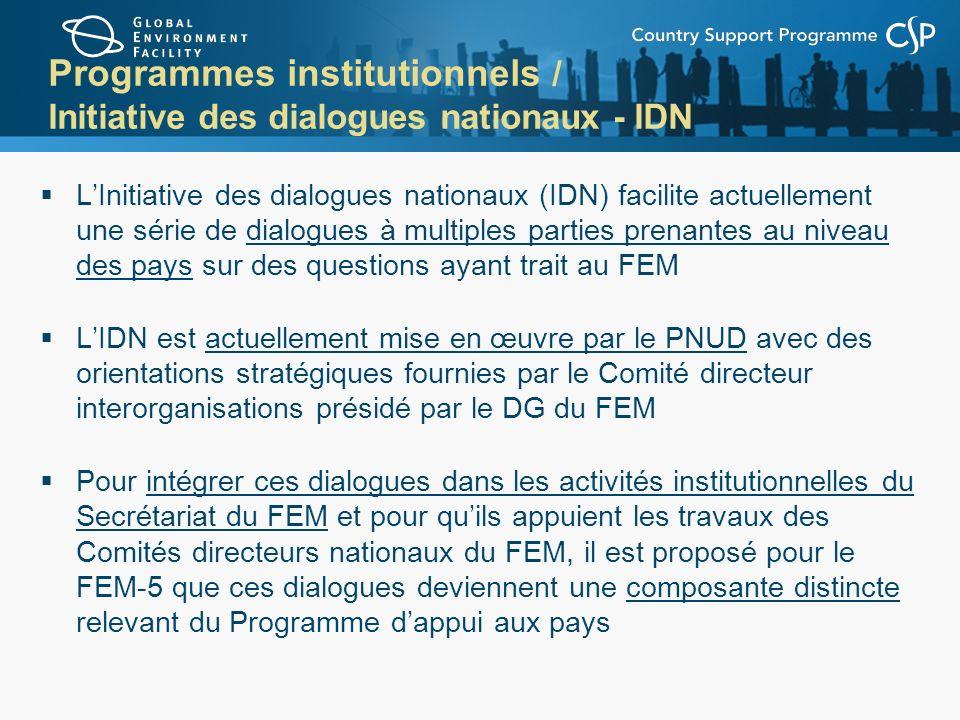 Programmes institutionnels / Initiative des dialogues nationaux - IDN LInitiative des dialogues nationaux (IDN) facilite actuellement une série de dia