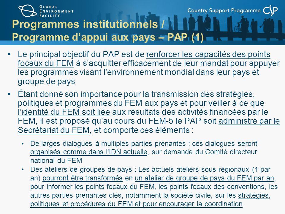 Programmes institutionnels / Programme dappui aux pays – PAP (1) Le principal objectif du PAP est de renforcer les capacités des points focaux du FEM