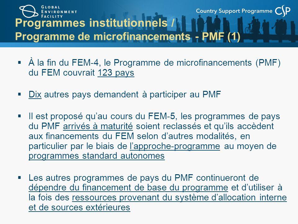 Programmes institutionnels / Programme de microfinancements - PMF (1) À la fin du FEM-4, le Programme de microfinancements (PMF) du FEM couvrait 123 p