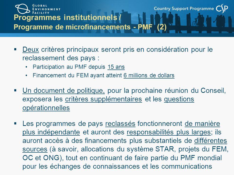 Programmes institutionnels / Programme de microfinancements - PMF (2) Deux critères principaux seront pris en considération pour le reclassement des p