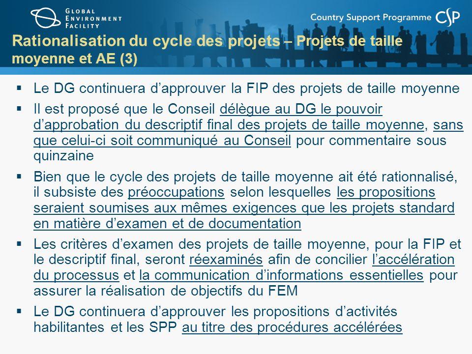 Rationalisation du cycle des projets – Projets de taille moyenne et AE (3) Le DG continuera dapprouver la FIP des projets de taille moyenne Il est pro
