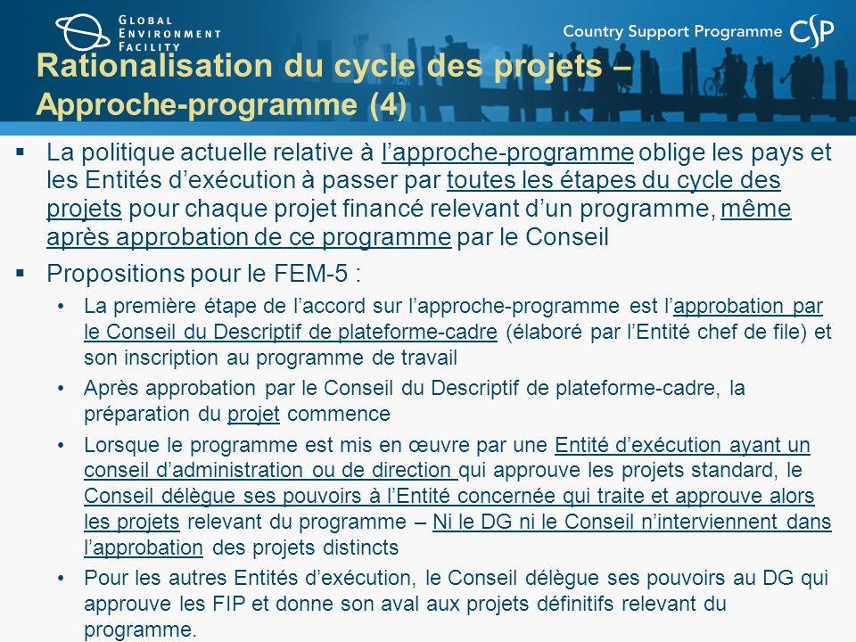 Rationalisation du cycle des projets – Approche-programme (4) La politique actuelle relative à lapproche-programme oblige les pays et les Entités dexé