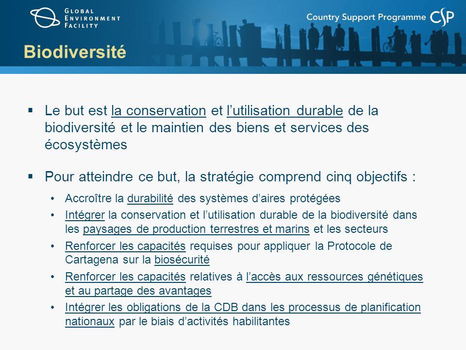 Biodiversité Le but est la conservation et lutilisation durable de la biodiversité et le maintien des biens et services des écosystèmes Pour atteindre