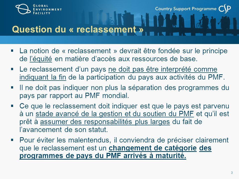 33 Question du « reclassement » La notion de « reclassement » devrait être fondée sur le principe de léquité en matière daccès aux ressources de base.