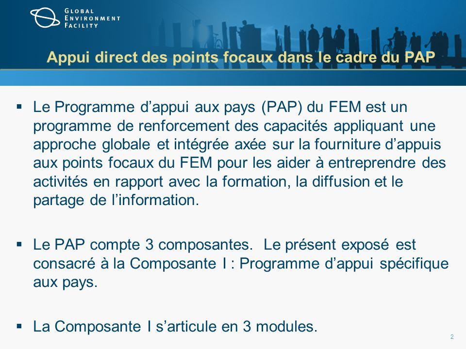Appui direct des points focaux dans le cadre du PAP Le Programme dappui aux pays (PAP) du FEM est un programme de renforcement des capacités appliquant une approche globale et intégrée axée sur la fourniture dappuis aux points focaux du FEM pour les aider à entreprendre des activités en rapport avec la formation, la diffusion et le partage de linformation.