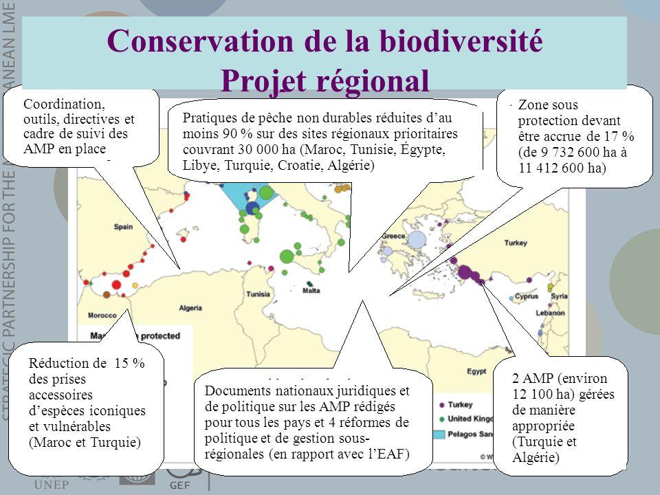Conservation de la biodiversité Projet régional Réduction de 15 % des prises accessoires despèces iconiques et vulnérables (Maroc et Turquie) 2 AMP (e