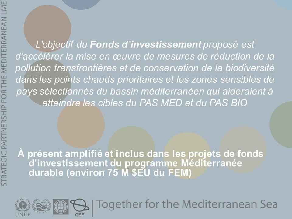 À présent amplifié et inclus dans les projets de fonds dinvestissement du programme Méditerranée durable (environ 75 M $EU du FEM) Lobjectif du Fonds