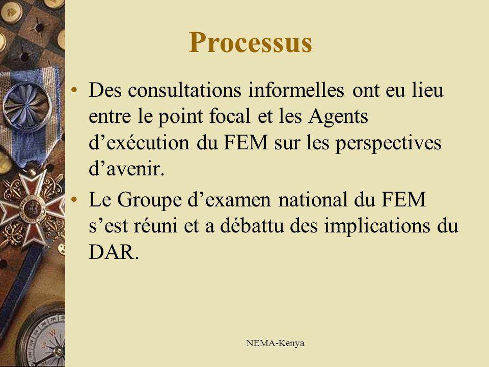 NEMA-Kenya Processus Des consultations informelles ont eu lieu entre le point focal et les Agents dexécution du FEM sur les perspectives davenir. Le G
