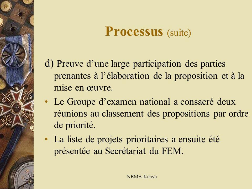 NEMA-Kenya Processus (suite) d) Preuve dune large participation des parties prenantes à lélaboration de la proposition et à la mise en œuvre. Le Group