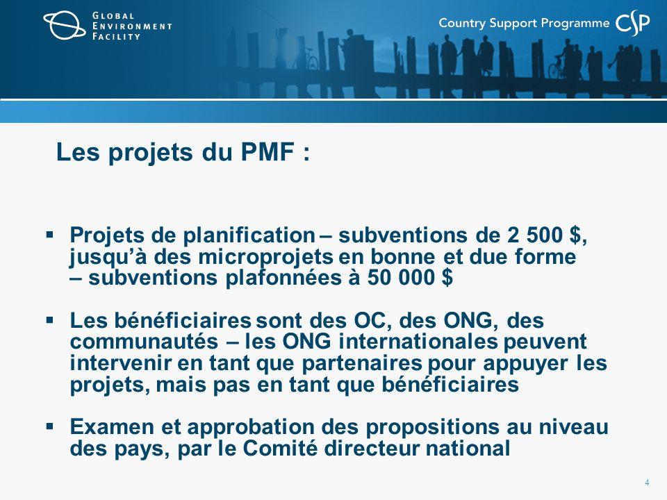 4 Les projets du PMF : Projets de planification – subventions de 2 500 $, jusquà des microprojets en bonne et due forme – subventions plafonnées à 50 000 $ Les bénéficiaires sont des OC, des ONG, des communautés – les ONG internationales peuvent intervenir en tant que partenaires pour appuyer les projets, mais pas en tant que bénéficiaires Examen et approbation des propositions au niveau des pays, par le Comité directeur national