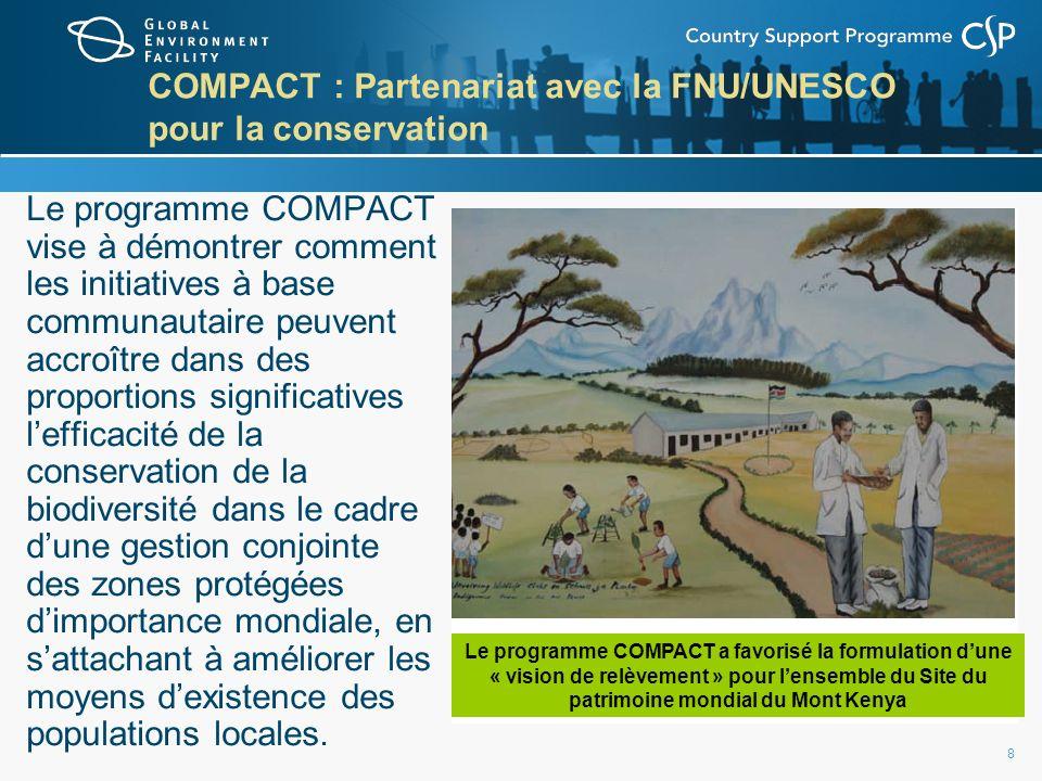 8 COMPACT : Partenariat avec la FNU/UNESCO pour la conservation Le programme COMPACT vise à démontrer comment les initiatives à base communautaire peuvent accroître dans des proportions significatives lefficacité de la conservation de la biodiversité dans le cadre dune gestion conjointe des zones protégées dimportance mondiale, en sattachant à améliorer les moyens dexistence des populations locales.