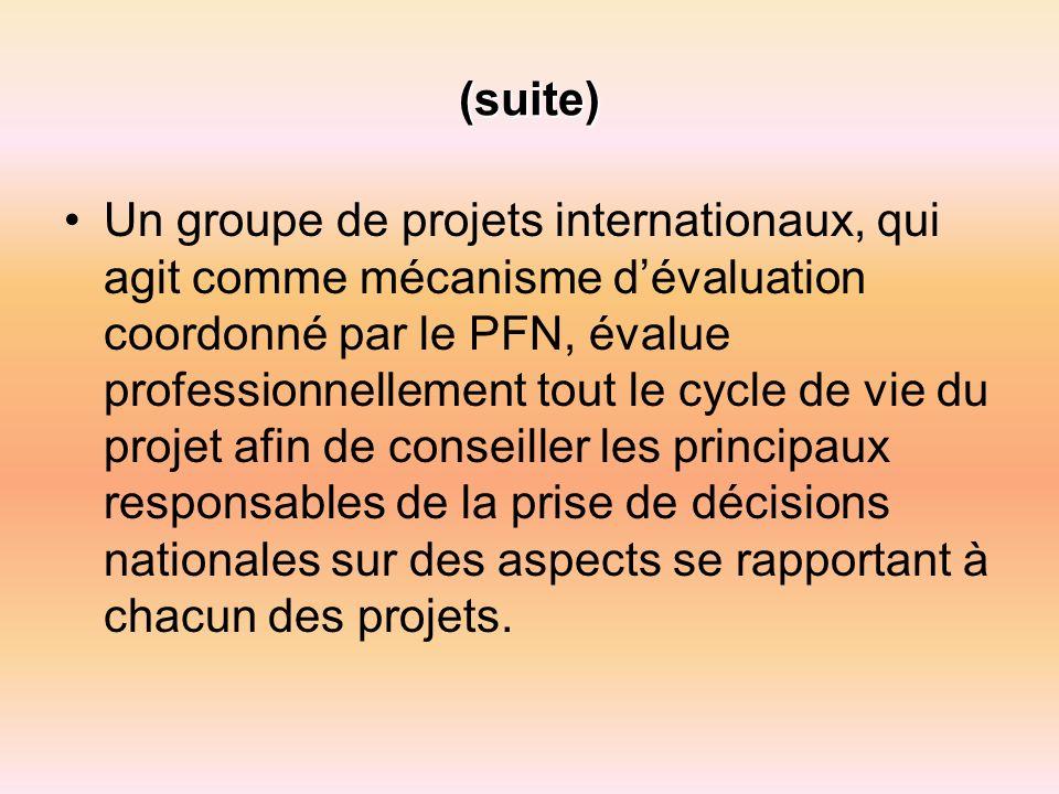 (suite) Un groupe de projets internationaux, qui agit comme mécanisme dévaluation coordonné par le PFN, évalue professionnellement tout le cycle de vie du projet afin de conseiller les principaux responsables de la prise de décisions nationales sur des aspects se rapportant à chacun des projets.