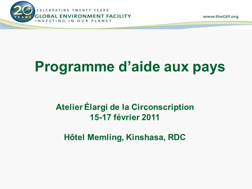 Programme daide aux pays Atelier Élargi de la Circonscription 15-17 février 2011 Hôtel Memling, Kinshasa, RDC