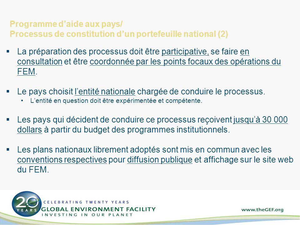 Programme daide aux pays/ Processus de constitution dun portefeuille national (2) La préparation des processus doit être participative, se faire en consultation et être coordonnée par les points focaux des opérations du FEM.