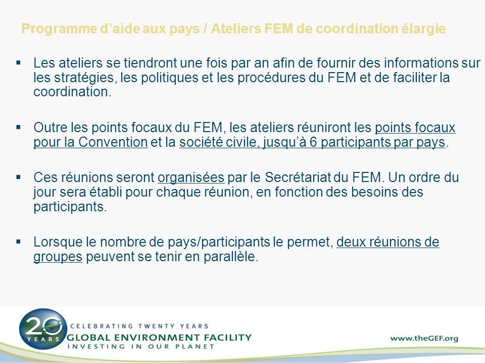 Programme daide aux pays / Ateliers FEM de coordination élargie Les ateliers se tiendront une fois par an afin de fournir des informations sur les stratégies, les politiques et les procédures du FEM et de faciliter la coordination.