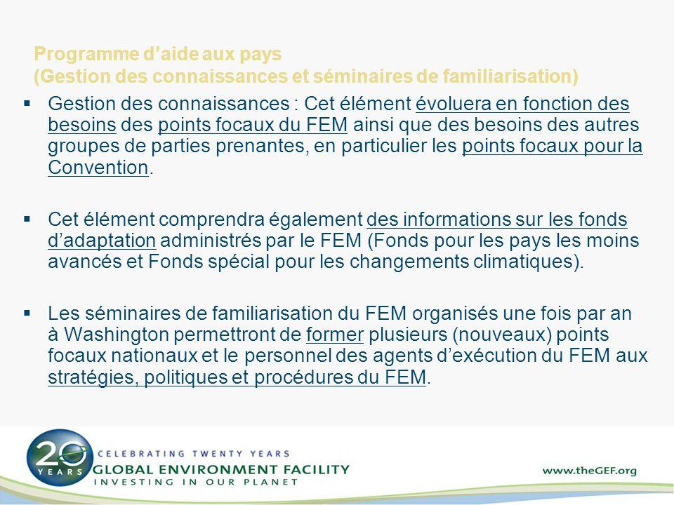 Programme daide aux pays (Gestion des connaissances et séminaires de familiarisation) Gestion des connaissances : Cet élément évoluera en fonction des besoins des points focaux du FEM ainsi que des besoins des autres groupes de parties prenantes, en particulier les points focaux pour la Convention.