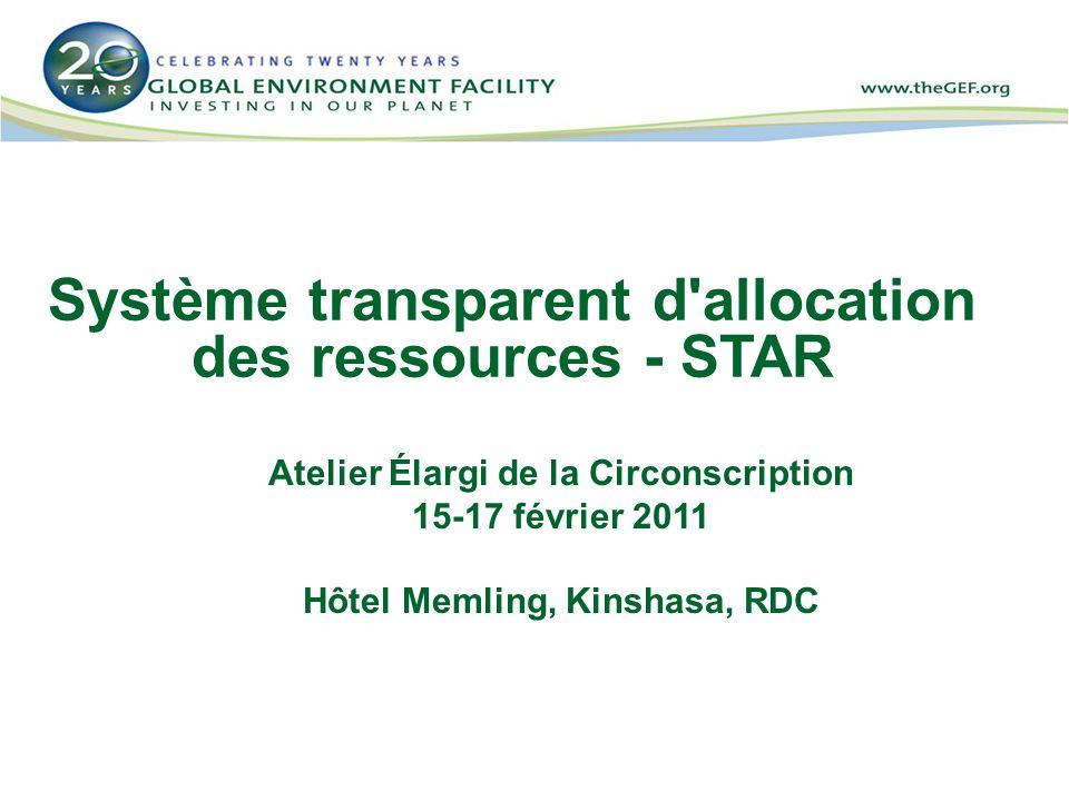 Système transparent d allocation des ressources - STAR Atelier Élargi de la Circonscription 15-17 février 2011 Hôtel Memling, Kinshasa, RDC