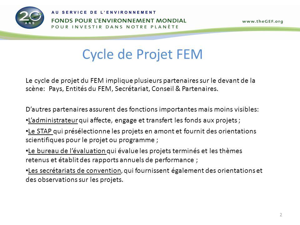 Cycle de Projet FEM Le cycle de projet du FEM implique plusieurs partenaires sur le devant de la scène: Pays, Entités du FEM, Secrétariat, Conseil & Partenaires.