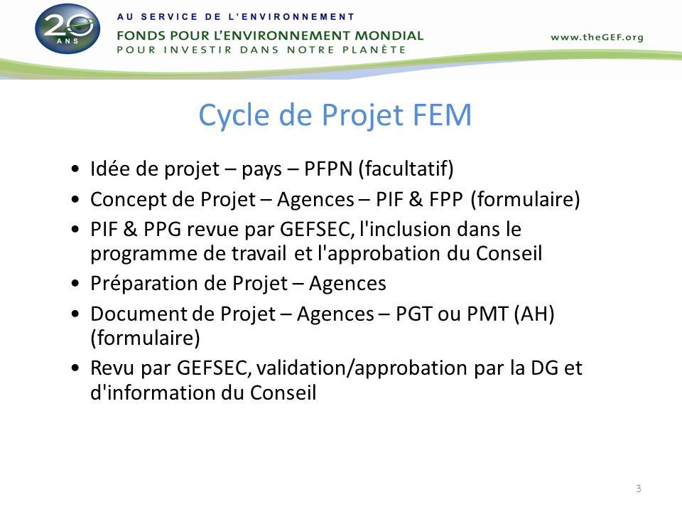 Cycle de projet du FEM Caractéristiques du cycle de projet du FEM-5 La FIP est soumise sur une base continue ; 18 mois de préparation pour les projets de grande envergure : entre la date dapprobation du programme de travail par le Conseil et la date de validation du descriptif final de projet par le DG ; 12 mois de préparation pour les projets de moyenne envergure : ne sapplique quaux projets qui ont demandé un financement PPG ; entre la date dapprobation de la FIP par le DG et la date dapprobation du descriptif final de projet par le DG ; Le descriptif de plateforme-cadre (DPC) ne peut être soumis quaux réunions du Conseil, qui sont prévues deux fois par an (Mai et Novembre) 4