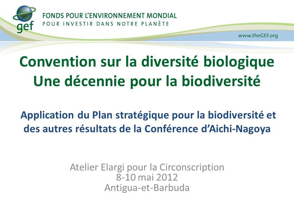 Convention sur la diversité biologique Une décennie pour la biodiversité Application du Plan stratégique pour la biodiversité et des autres résultats de la Conférence dAichi-Nagoya Atelier Elargi pour la Circonscription 8-10 mai 2012 Antigua-et-Barbuda