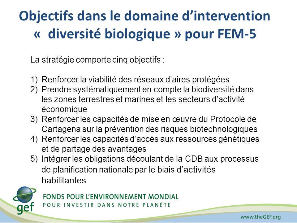 Objectifs dans le domaine dintervention « diversité biologique » pour FEM-5 La stratégie comporte cinq objectifs : 1)Renforcer la viabilité des réseau