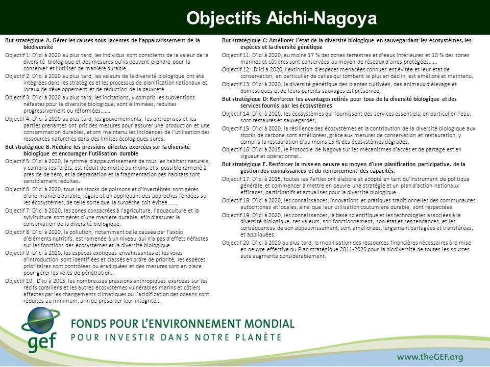 Correspondance entre la stratégie pour FEM-5 et le Plan stratégique et les Objectifs dAichi-Nagoya Objectifs de la stratégie pour FEM-5 Exercices 11-14 Buts du Plan stratégique Objectifs dAichi-Nagoya Objectif 1 : Renforcer la viabilité des reseaux daires protégées - Augmenter le financement des reseaux daires protégées; - Permettre une meilleure représentation des écosystèmes et des espèces menacées dans les dispositifs daires protégées - Améliorer lefficacité de la gestion des aires protégées existantes But stratégique A But stratégique B But strategique C But stratégique D But stratégique E Objectif 5 Objectifs 10, 11 et 12 Objectifs 14 et 15 Objectifs 18, 19 et 20 Objectif 2 : Prendre systématiquement en compte la biodiversité dans les zones terrestres et marines et les secteurs dactivité économique - Renforcer les politiques publiques et les cadres réglementaires - Mettre en place des cadres de gestion des espèces invasives -Renforcer les capacités de production de biens et services respectueux de la biodiversité But stratégique A But stratégique B But strategique C But stratégique D But stratégique E Objectifs 3, 4, 5, et 6 Objectifs 7, 8, 9, 10, 11, 12 et 13 Objectifs 14 et 15 Objectifs 18, 19 et 20