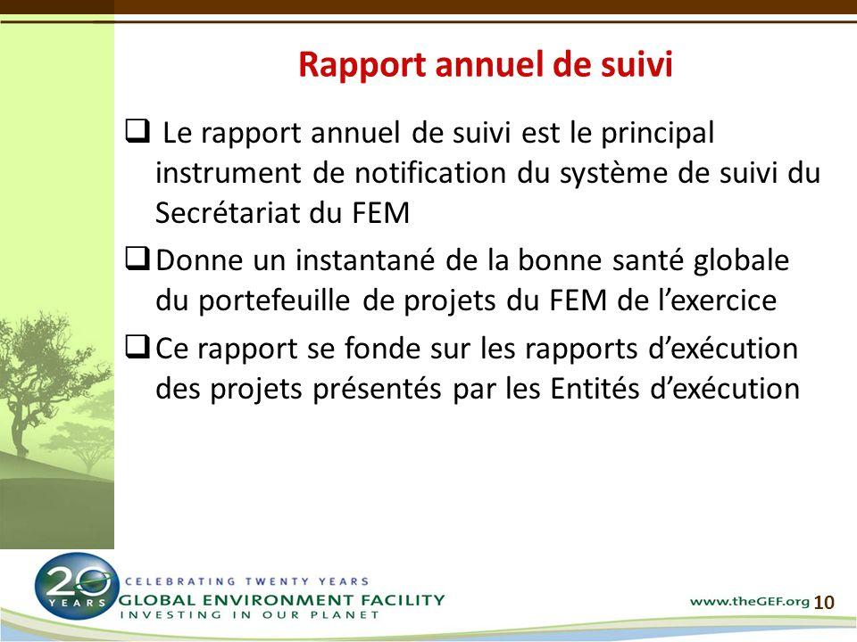 Le rapport annuel de suivi est le principal instrument de notification du système de suivi du Secrétariat du FEM Donne un instantané de la bonne santé globale du portefeuille de projets du FEM de lexercice Ce rapport se fonde sur les rapports dexécution des projets présentés par les Entités dexécution 10