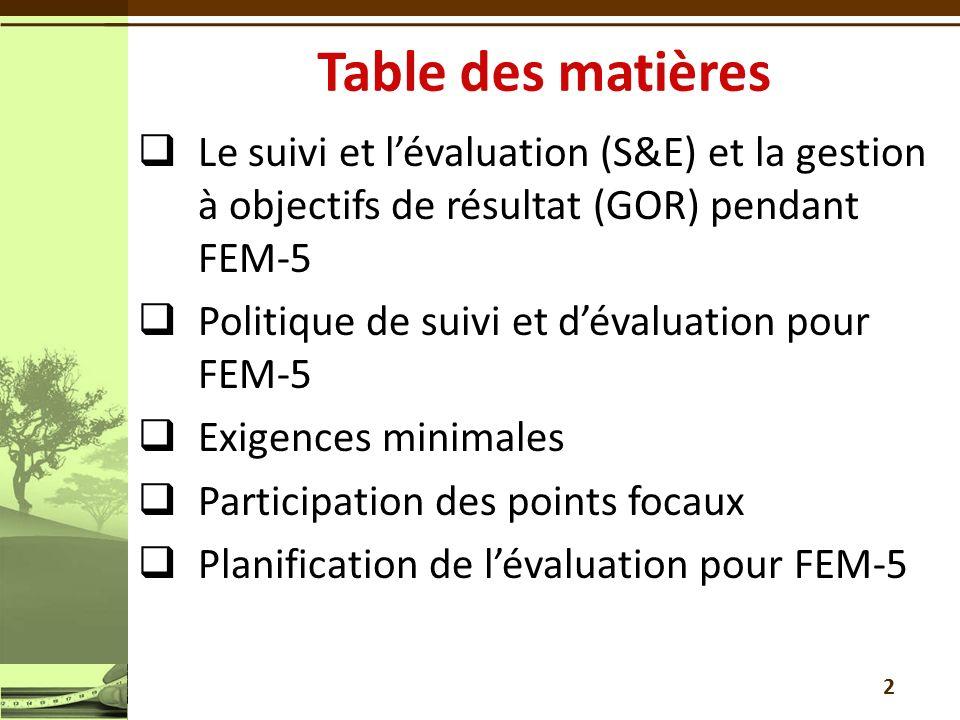 Le suivi et lévaluation (S&E) et la gestion à objectifs de résultat (GOR) pendant FEM-5 Politique de suivi et dévaluation pour FEM-5 Exigences minimales Participation des points focaux Planification de lévaluation pour FEM-5 2