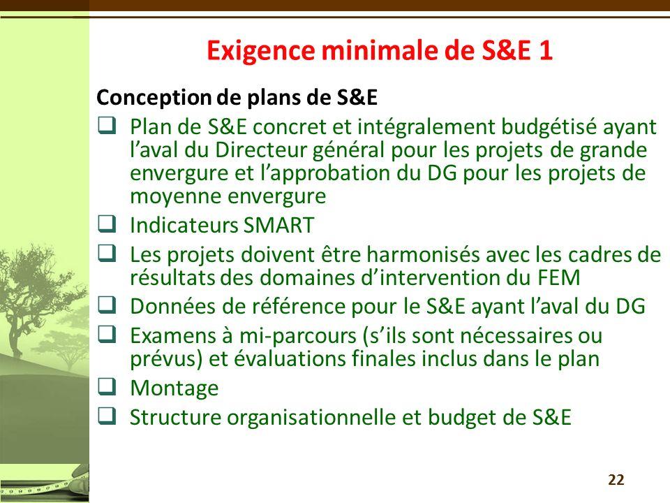 Conception de plans de S&E Plan de S&E concret et intégralement budgétisé ayant laval du Directeur général pour les projets de grande envergure et lapprobation du DG pour les projets de moyenne envergure Indicateurs SMART Les projets doivent être harmonisés avec les cadres de résultats des domaines dintervention du FEM Données de référence pour le S&E ayant laval du DG Examens à mi-parcours (sils sont nécessaires ou prévus) et évaluations finales inclus dans le plan Montage Structure organisationnelle et budget de S&E 22