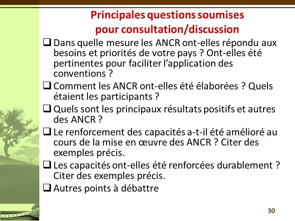 Dans quelle mesure les ANCR ont-elles répondu aux besoins et priorités de votre pays .