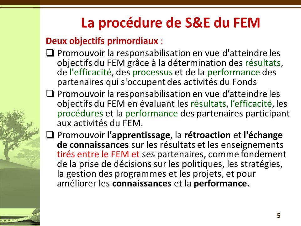 Deux objectifs primordiaux : Promouvoir la responsabilisation en vue d atteindre les objectifs du FEM grâce à la détermination des résultats, de l efficacité, des processus et de la performance des partenaires qui s occupent des activités du Fonds Promouvoir la responsabilisation en vue datteindre les objectifs du FEM en évaluant les résultats, lefficacité, les procédures et la performance des partenaires participant aux activités du FEM.