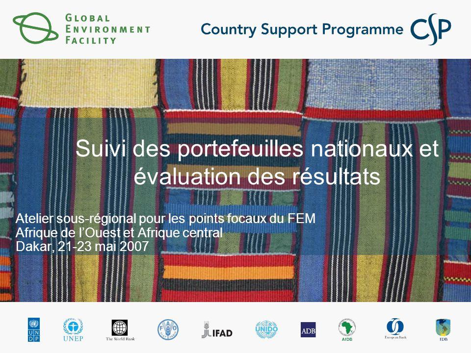 Suivi des portefeuilles nationaux et évaluation des résultats Atelier sous-régional pour les points focaux du FEM Afrique de lOuest et Afrique central Dakar, 21-23 mai 2007