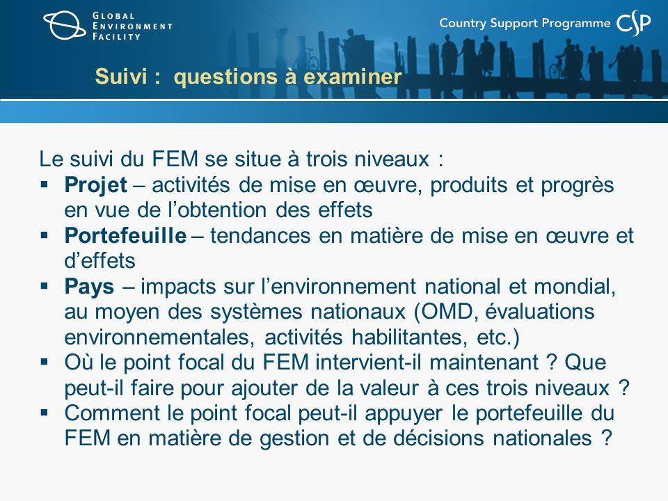 Suivi : questions à examiner Le suivi du FEM se situe à trois niveaux : Projet – activités de mise en œuvre, produits et progrès en vue de lobtention
