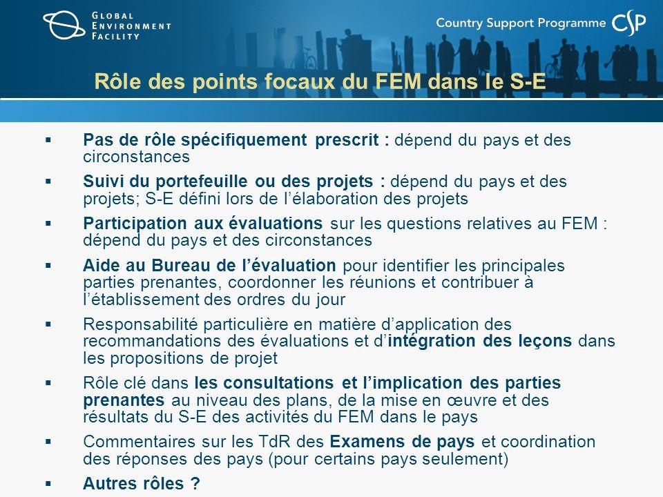 Rôle des points focaux du FEM dans le S-E Pas de rôle spécifiquement prescrit : dépend du pays et des circonstances Suivi du portefeuille ou des proje