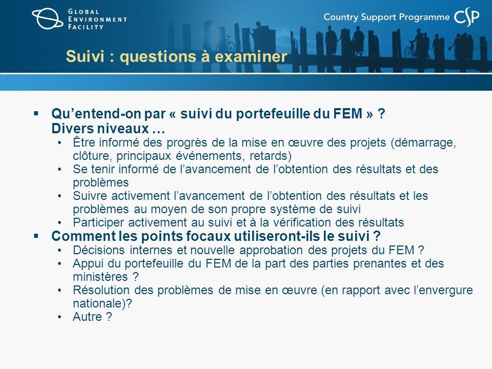 Suivi : questions à examiner Quentend-on par « suivi du portefeuille du FEM » ? Divers niveaux … Être informé des progrès de la mise en œuvre des proj