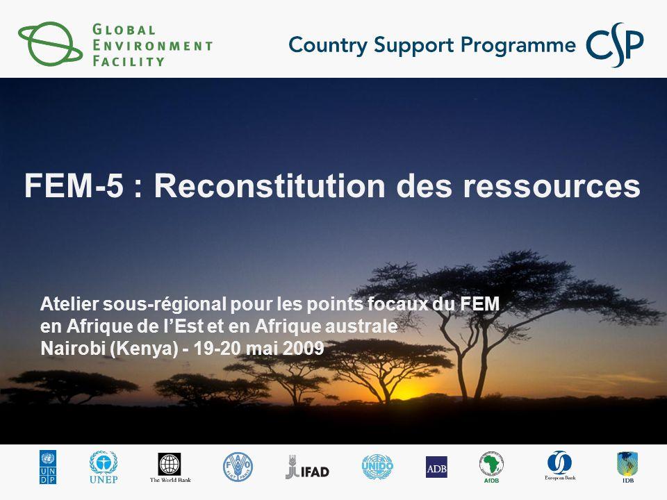 Atelier sous-régional pour les points focaux du FEM en Afrique de lEst et en Afrique australe Nairobi (Kenya) - 19-20 mai 2009 FEM-5 : Reconstitution des ressources
