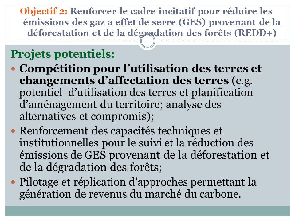Objectif 2: Renforcer le cadre incitatif pour réduire les émissions des gaz a effet de serre (GES) provenant de la déforestation et de la dégradation